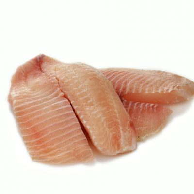 raw tilapia fillets on a white background