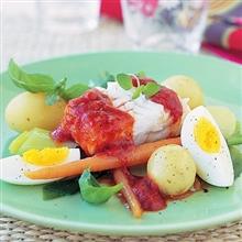 Marinerad torsk med tomat och vitlök – 20 min – 4 portioner